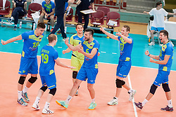 Players of Slovenia celebrate after volleyball match between National Teams of Slovenia and FRY Macedonia of 2014 CEV Volleyball European League Man - Pool B, on July 5, 2014, in Arena Ljudski vrt Lukna, Maribor, Slovenia, Slovenia. Photo by Urban Urbanc / Sportida