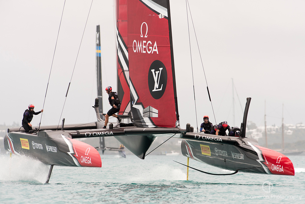 The Great Sound, Bermuda. 10th June 2017. Emirates Team New Zealand beat Artemis Racing (SWE) in the first race of the Louis Vuitton America's Cup Challenger playoff finals.