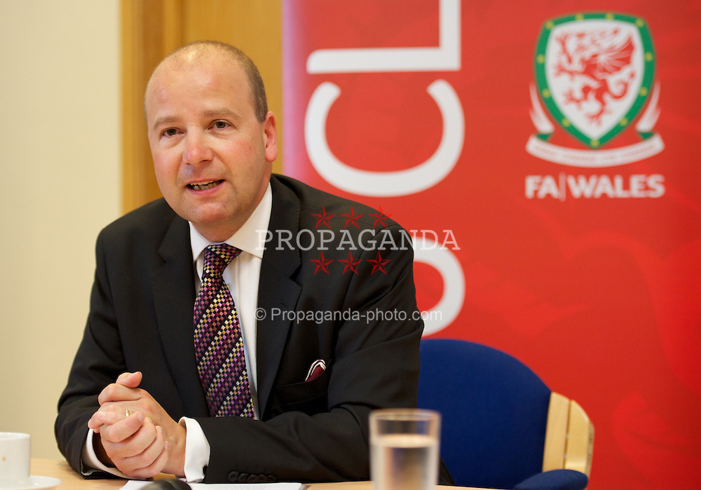 NEWPORT, WALES - Wednesday, July 4, 2012: FAW Chief Executive Jonanthan Ford at a press conference as the Football Association of Wales opens the first 3G pitch at the National Development Centre at the Newport International Sports Village. (Pic by David Rawcliffe/Propaganda)