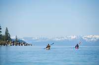 Kayaking near Sand Harbor on Lake Tahoe, NV.