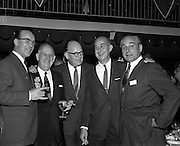13/05/1962<br /> 05/13/1962<br /> 13 May 1962<br /> Variety Club Convention Cocktail Party at the Shelbourne Hotel, Dublin. Pictured are (l-r): Jack Cruise, Dublin Convention Chairman; Bob Bostick, U.S., International Representative of Variety Clubs International; Jack Goodlatte, Managing Director A.B.C. London, Elder Statesman, Variety Club International; George Eby, Detroit, Past President, Variety Clubs International and Jimmy Carreras, Managing Director, Hammer Films, London, 2nd International Club Barker.