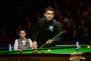 19.02.2016. Cardiff Arena, Cardiff, Wales. Bet Victor Welsh Open Snooker. Mark Selby versus Ronnie O'Sullivan. Ronnie O'Sullivan watches as the ball drops.