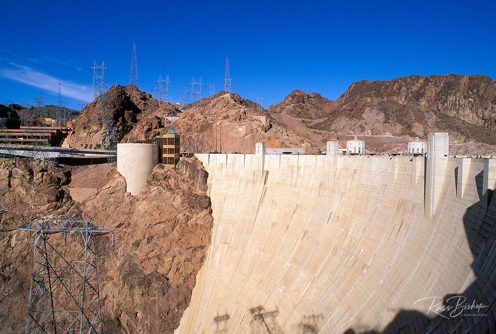 Hoover Dam and the Visitor Center, Hoover Dam National Historic Landmark, Nevada USA