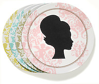 dinner plates set with silhouette face design