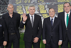 26.06.2013, Estadio Santiago Bernabeu, Madrid, ESP, Primera Division, Real Madrid, Praesentation Trainer Carlo Ancelotti, im Bild Real Madrid's new coach Carlo Ancelotti with his assitant Zinedine Zidane (l), the President Florentino Perez (2r) and the Vice President fernando Fernandez Tapias (r) // during his official presentation.June 26, 2013. during official presentation of Spanish Primera Division club Real Madrid new coach Carlo Ancelotti at the Estadio Santiago Bernabeu, Madrid, Spain on 2013/06/26. EXPA Pictures © 2013, PhotoCredit: EXPA/ Alterphotos/ Acero<br /> <br /> ***** ATTENTION - OUT OF ESP and SUI *****