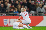 Alex Greenwood (England) checking on Beth Mead (England) injured following a tackle with Sara Doorsoun-Khajeh (Germany) during the International Friendly match between England Women and Germany Women at Wembley Stadium, London, England on 9 November 2019.