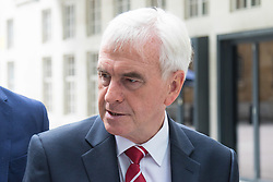 London June 11th 2017. Labour's Shadow Chancellor John McDonnell arrives at the BBC in London.