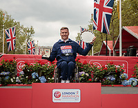 The presentations for the elite Wheelchair Men's Race. Winner David Weir GBR. The Virgin Money London Marathon, 23rd April 2017.<br /> <br /> Photo: Ben Queenborough for Virgin Money London Marathon<br /> <br /> For further information: media@londonmarathonevents.co.uk