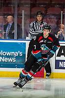 KELOWNA, CANADA - DECEMBER 5: Libor Zabransky #7 of the Kelowna Rockets warms up with the puck against the Tri-City Americans on December 5, 2018 at Prospera Place in Kelowna, British Columbia, Canada.  (Photo by Marissa Baecker/Shoot the Breeze)