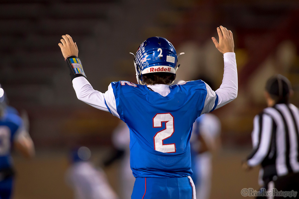 Christian Brothers Falcons Gunnor Faulk, (2), celebrates a touchdown pass as they host the Bencia Panthers in the Sac-Joaquin Section Division III playoff opener at Hughes Stadium, Friday Nov 10, 2017.<br /> photo by Brian Baer