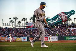 SAN FRANCISCO, CA - AUGUST 13: Matt Chapman #26 of the Oakland Athletics returns to the dugout after striking out against the San Francisco Giants during the fourth inning at Oracle Park on August 13, 2019 in San Francisco, California. The San Francisco Giants defeated the Oakland Athletics 3-2. (Photo by Jason O. Watson/Getty Images) *** Local Caption *** Matt Chapman