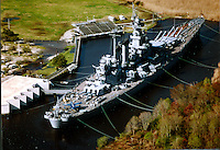Aerial view of the USS North Carolina docked outside Wilmington, NC