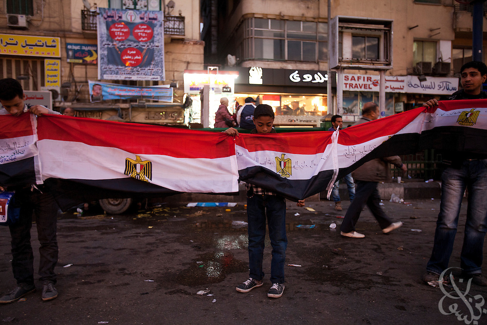 Egyptian activists take part in January 20, 2012 protests at Tahrir Square in Cairo, Egypt. Hundreds of protestors marched on Tahrir square with the intention of building momentum before next week's one year anniversary of the revolution.(Photo by Scott Nelson)