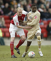 Photo: Aidan Ellis.<br /> Rotherham United v Bristol City. Coca Cola League 1. 25/03/2006.<br /> City's Baz Savage battles with Rotherham's Colin Murdock