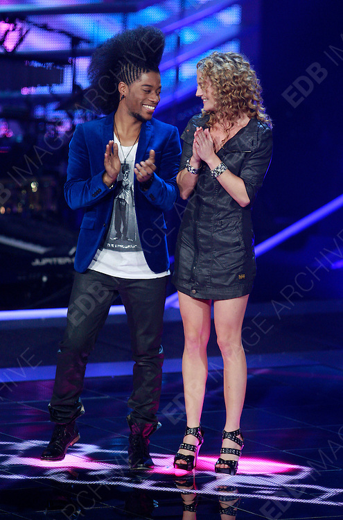 09.NOVEMBER.2012. HILVERSUM<br /> <br /> CONTESTANTS PERFORM LIVE ON THE VOICE IN THE NETHERLANDS.<br /> <br /> BYLINE: EDBIMAGEARCHIVE.CO.UK<br /> <br /> *THIS IMAGE IS STRICTLY FOR UK NEWSPAPERS AND MAGAZINES ONLY*<br /> *FOR WORLD WIDE SALES AND WEB USE PLEASE CONTACT EDBIMAGEARCHIVE - 0208 954 5968*