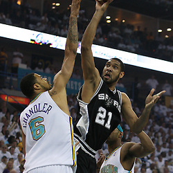 19 May 2008: Spurs forward Tim Duncan #21 scored 16-points and hauled in 14 rebounds as the San Antonio Spurs defeated the New Orleans Hornets in Game 7 of the NBA Playoff Semi-Finals eliminating New Orleans from the playoffs.