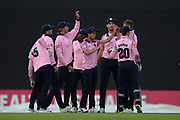 Middlesex celebrate the wicket of Sam Northeast of Hampshire during the Vitality T20 Blast South Group match between Hampshire County Cricket Club and Middlesex County Cricket Club at the Ageas Bowl, Southampton, United Kingdom on 20 July 2018. Picture by Dave Vokes.