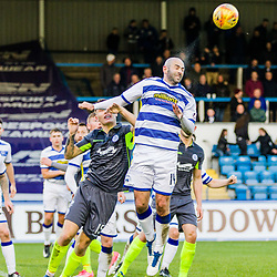 Gary Harkins (14) of Greenock Morton gets his head to the ball during the Ladbrokes Scottish Championship game between Greenock Morton and Queen of the South at Cappielow Park on 4th November 2017 in Greenock, Scotland.   (c) BERNIE CLARK | SportPix.org.uk