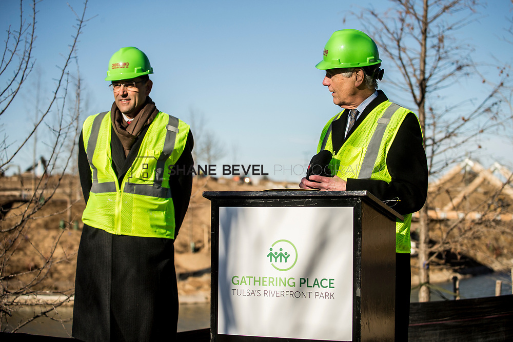 1/12/18 11:06:17 AM -- Halliburton CEO Jeff Miller and George Kaiser visit the Gathering Place for a press conference announcing Halliburton's support for the park. <br /> <br /> Photo by Shane Bevel