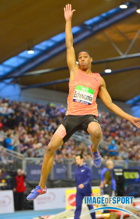 Juan Miguel Echevarria (CUB) wins the long jump at 26-1&frac34;<br /> (7.97m) in the 34th Indoor Meeting Karlsruhen in an IAAF World Tour competition at the Messe Karlsruhe on Saturday, Feb. 3, 2018 in Karlsruhe, Germany. (Jiro Mochizuki/Image of Sport)