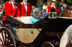 © Licensed to London News Pictures. 09/06/2018. London, UK. QUEEN ELIZABETH II rides in a carriage to attend the Trooping The Colour ceremony in London. This years event is part of a weekend of celebration to mark the 92th birthday of Queen Elizabeth II, who is Britain's longest reigning monarch.Photo credit: Ray Tang/LNP