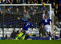 BIRMINGHAM, ENGLAND - Saturday, January 19, 2008: Birmingham City's Sebastian Larsson puts the ball over the Chelsea bar from close range during the Premiership match at St Andrews. (Photo by David Rawcliffe/Propaganda)