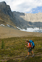 Backpacker at the Rockwall, Kootenay National Park British Columbia Canada,
