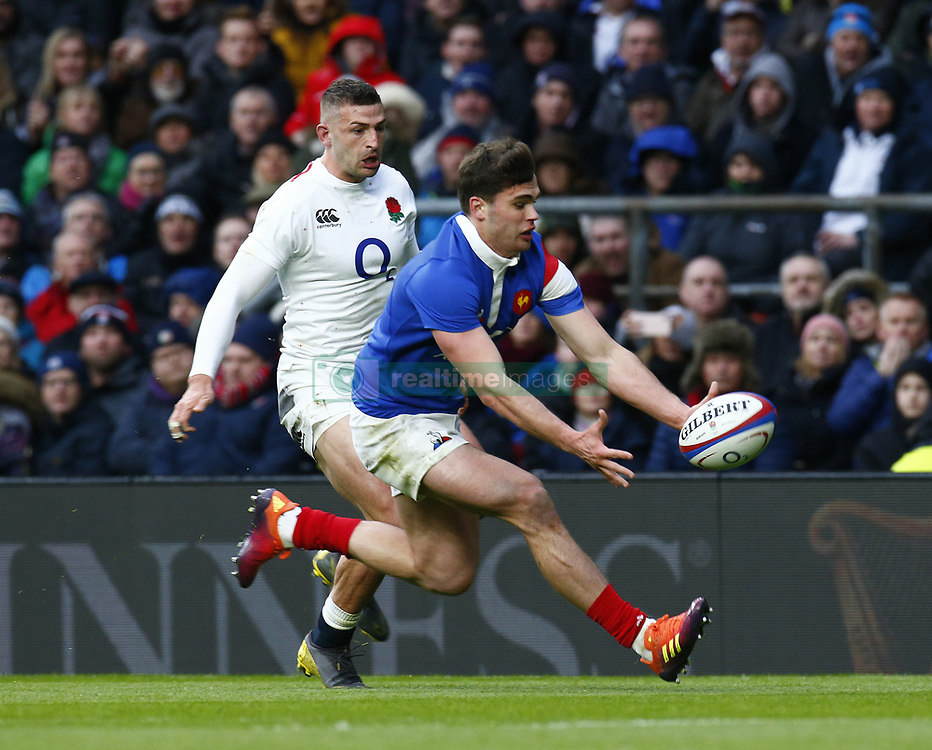 February 10, 2019 - London, England, United Kingdom - Damian Penaud of France..during the Guiness 6 Nations Rugby match between England and France at Twickenham  Stadium on February 10th,  in Twickenham, London, England. (Credit Image: © Action Foto Sport/NurPhoto via ZUMA Press)
