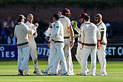 Wicket - Jack Leach of Somerset celebrates taking the wicket of Kyle Jarvis of Lancashire during the Specsavers County Champ Div 1 match between Somerset County Cricket Club and Lancashire County Cricket Club at the Cooper Associates County Ground, Taunton, United Kingdom on 13 September 2017. Photo by Graham Hunt.