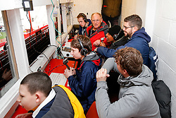 Spectrum Disability Journalism students have a look at the Press Box at Ashton Gate with radio commentator Andy Champion - Photo mandatory by-line: Rogan Thomson/JMP - 07966 386802 - 29/03/2015 - SPORT - Rugby Union - Bristol, England - Ashton Gate Stadium - Bristol Rugby v Bedford Blues - Greene King IPA Championship.