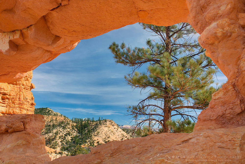 View through Turret Arch in Water Canyon near Mossy Cave, Bryce Canyon National Park Utah