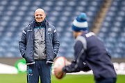Scotland head coach Gregor Townsend watches the team train during the Captain's training run for Scotland at BT Murrayfield, Edinburgh, Scotland on 8 March 2019 ahead of the Guinness 6 Nations match against Wales.