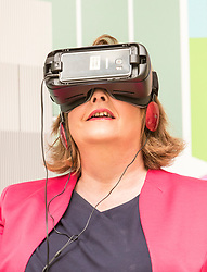 Cabinet Secretary for Culture, Tourism and External Affairs, Fiona Hyslop visits one of the highlights of the annual Edinburgh International Science Festival, Play On at the National Museum of Scotland. Play On is a family-friendly, interactive exhibition which is divided into four zones (Game Theory, Make Some Noise, Toy Box and Picture This) and explores how technology influences our leisure time.<br />  <br /> Ms Hyslop met with the Science Festival&rsquo;s Directors, Simon Gage and Amanda Tyndall, as well as the artists and designers behind the Play On.<br /> <br /> Pictured: Fiona Hyslop using a Virtual Reality headset