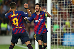 September 18, 2018 - Barcelona, Catalonia, Spain - Lionel Messi of FC Barcelona celebrates with Luis Suarez after scoring his side's third goal during the UEFA Champions League, Group B football match between FC Barcelona and PSV Eindhoven on September 18, 2018 at Camp Nou stadium in Barcelona, Spain (Credit Image: © Manuel Blondeau via ZUMA Wire)