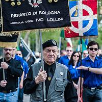 Predappio, Italy - 26 April 2014: Fascist sympathizers gather for the commemorations of Benito Mussolini's death in Predappio. Hundreds of fascist nostalgics gather each year in Predappio, where Mussolini was born, to commemorate Mussolini's birth, death and the March of Rome.