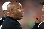Cleveland Browns head coach Hue Jackson points and yells at officials as he disputes a call during the 2018 NFL regular season week 3 football game against the New York Jets on Thursday, Sept. 20, 2018 in Cleveland. The Browns won the game 21-17. (©Paul Anthony Spinelli)