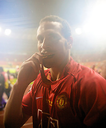 MOSCOW, RUSSIA - Wednesday, May 21, 2008: Manchester United's Rio Ferdinand celebrates after beating Chelsea on sudden death penalties to win the UEFA Champions League Final at the Luzhniki Stadium. (Photo by David Rawcliffe/Propaganda)