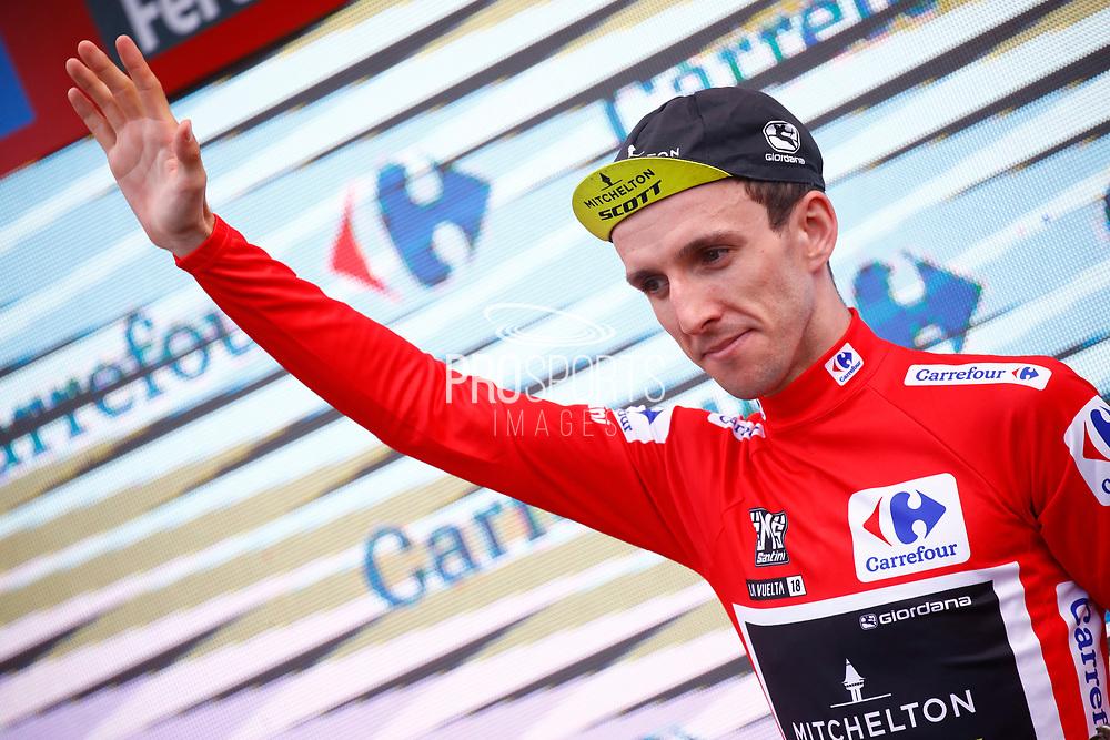 Podium Simon Yates (GBR - Mitchelton - Scott) red leader jersey during the 73th Edition Tour of Spain, Vuelta Espana 2018, stage 10 cycling race, Salamanca - Fermoselle Bermillo de Sayago 177 km on September 4, 2018 in Spain - Photo Luca Bettini / BettiniPhoto / ProSportsImages / DPPI