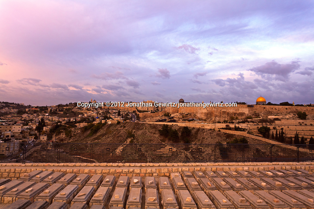 The view across the Kidron Valley from the Jewish cemetery on the Mount of Olives to the Temple Mount and Jewish Quarter of Jerusalem's Old City. WATERMARKS WILL NOT APPEAR ON PRINTS OR LICENSED IMAGES.