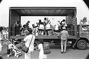Steelpan band on a truck, Moss Side Carnival, Alexandra Park, Manchester 1989