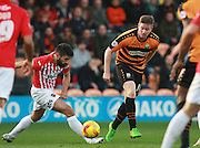 Exeter City defender Danny Butterfield & Barnet striker Michael Gash compete for possession during the Sky Bet League 2 match between Barnet and Exeter City at The Hive Stadium, London, England on 31 October 2015. Photo by Bennett Dean.