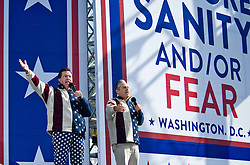 """In 2010 Political Rhetoric was at a pressure point. Just before the general election Jon Stewart and Steve Colbert stagged """"Rally for Sanity"""" on the Mall in Washington, DC. Thousands gathered for the event."""