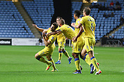 AFC Wimbledon defender Jon Meades (3) scores a goal 1-1 and celebrates during the EFL Sky Bet League 1 match between Coventry City and AFC Wimbledon at the Ricoh Arena, Coventry, England on 28 September 2016. Photo by Stuart Butcher.