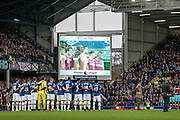 The Everton players and West Ham players in front of the big screen before the Premier League match between Everton and West Ham United at Goodison Park, Liverpool, England on 30 October 2016. Photo by Mark P Doherty.