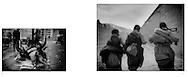 L:  Yak skulls piled up on snowy Dartsendo (Kangding) street, Tibetan Borderlands...R:  Tibetan Girls Running, Labrang, Amdo, Tibet