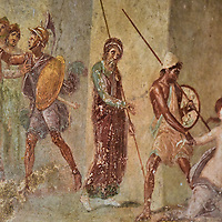 Abduction of Cassandra Fresco at House of Menander in Pompeii, Italy <br />