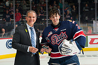 REGINA, SK - MAY 25: Max Paddock #33 of Regina Pats accepts the first star of the game against the Hamilton Bulldogs at the Brandt Centre on May 25, 2018 in Regina, Canada. (Photo by Marissa Baecker/CHL Images)