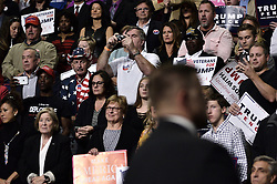 Republican presidential candidate Donald Trump rallies at the Giant Center in Hershey,  in Central Pennsylvania, on Fri. Nov. 4, 2016.
