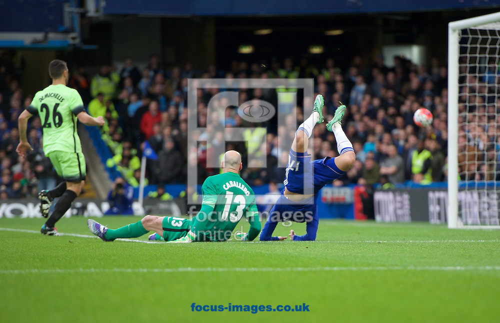 Pedro of Chelsea comes close to scoring but is challenged by goalkeeper Wilfredo Caballero during the FA Cup match at Stamford Bridge, London<br /> Picture by Alan Stanford/Focus Images Ltd +44 7915 056117<br /> 21/02/2016