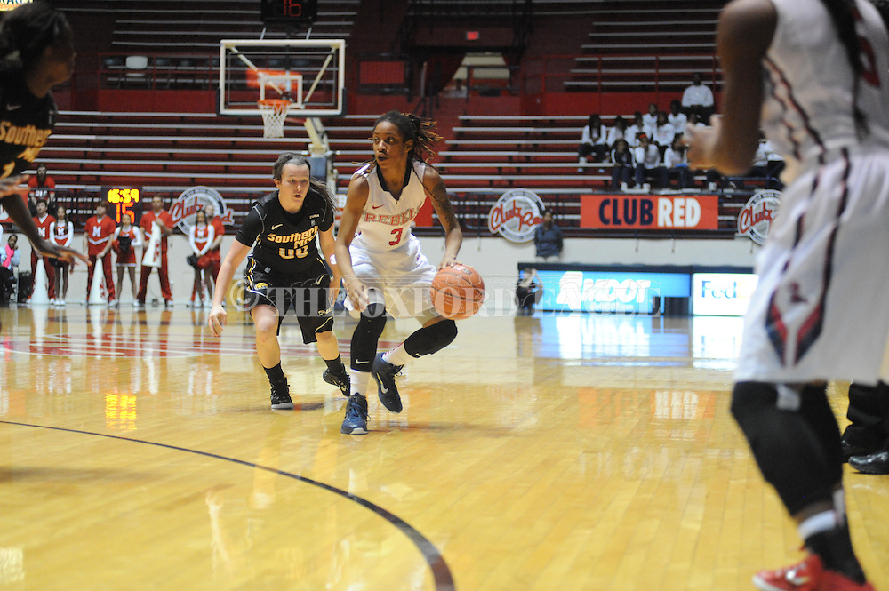 "Ole Miss Lady Rebels guard A'Queen Hayes (3) vs. Southern Mississippi Lady Golden Eagles guard Alex Coyne (00) at the C.M. ""Tad"" Smith Coliseum in Oxford, Miss. on Thursday, December 18, 2014. (AP Photo/Oxford Eagle, Bruce Newman)"
